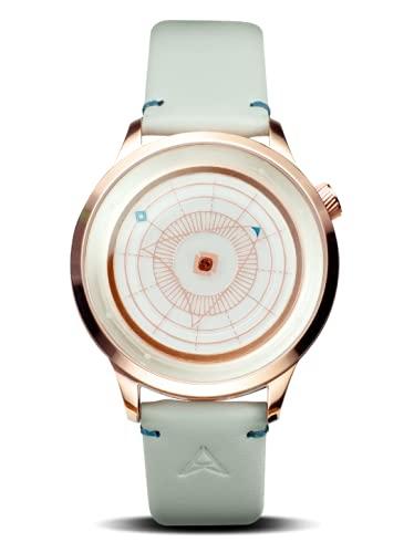 Trinity Time Relojes Serie Altas Reloj de caja de oro rosa pulido con correa de cuero genuino