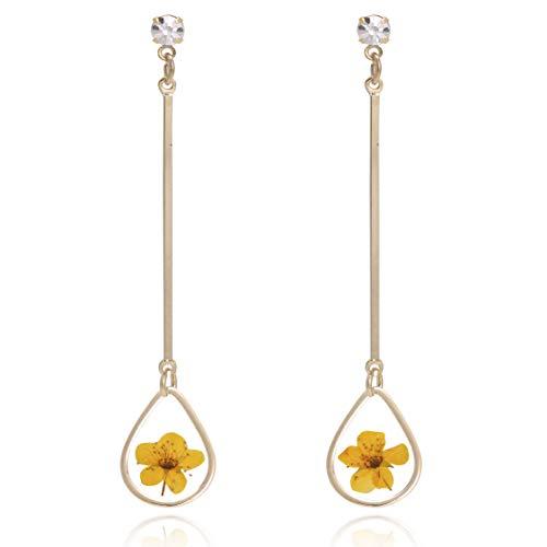 Bonaluna Women's Pressed Flower Tear Dangle Earrings Yellow