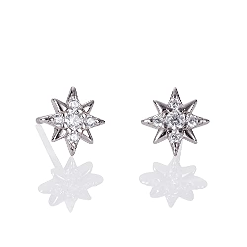 Namana Pendientes pequeños en plata de ley 925, simples y lindos pendientes de plata de ley 925 para mujeres y niñas, joyas de plata para mujer con caja de regalo, Plata de ley,
