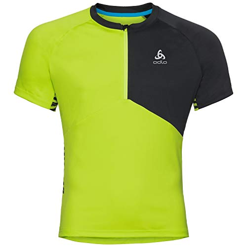Odlo 411512 Maillot Cyclisme Homme, Acid Lime/Black, FR : S (Taille Fabricant : S)