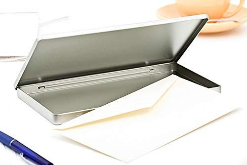 Perfekto24 Lata de almacenamiento en plata – Caja de metal rectangular 22,5 x 11,5 x 1 cm lata grande con tapa – Lata de almacenamiento de metal universal