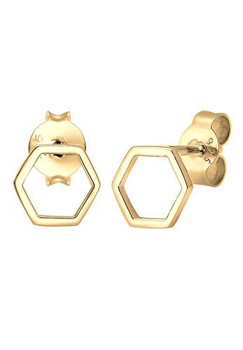 Elli Ohrringe Damen Ohrstecker Hexagon Geo Trend Minimal Filigran in 925 Sterling Silber