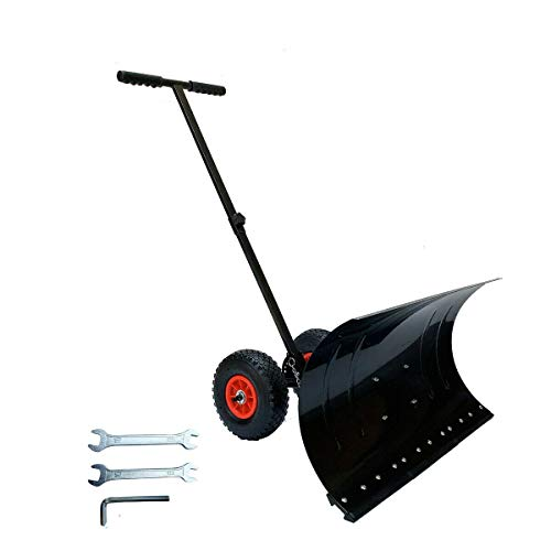 Review Lfhelper Wheeled Snow Shovel Pusher for Doorway Driveway or Pavement Clearing Non-Slip Rubber...