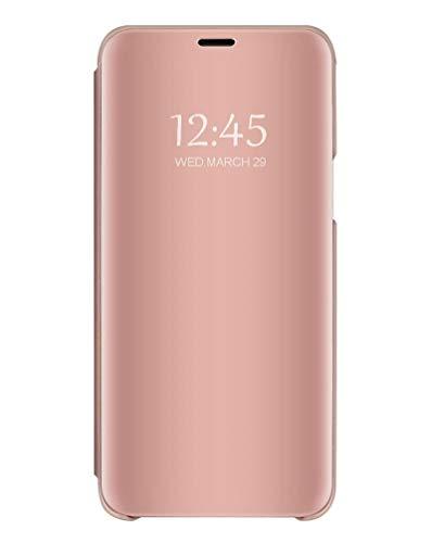 Bakicey Samsung Galaxy S10 Plus Spiegel Handyhülle, Clear View Flip Schutzhülle Hülle Flip Hülle Handytasche Lederhülle mit Standfunktion Etui Tasche Cover für Samsung Galaxy S10 Plus, Roségold