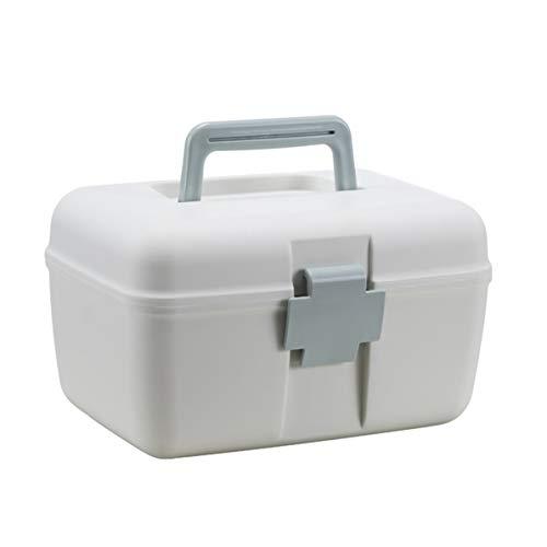 Monlladek Kunststoff-Medizinbox, multifunktionales Haus Doppelschicht-Medizinschrank Tragbare Medizin-Aufbewahrungsbox Gesundheit Plastik-Medizinbox (blau)