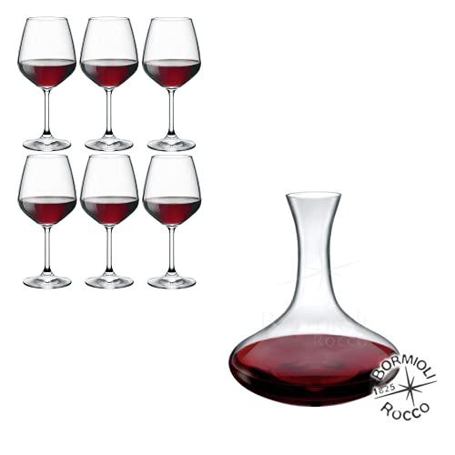 Rocco Bormioli - Servizio Bicchieri 6 Persone, Set 7 Pezzi, Calici Vino Rosso Mod Divino + Decanter Electra In Vetro Cristallino Trasparente