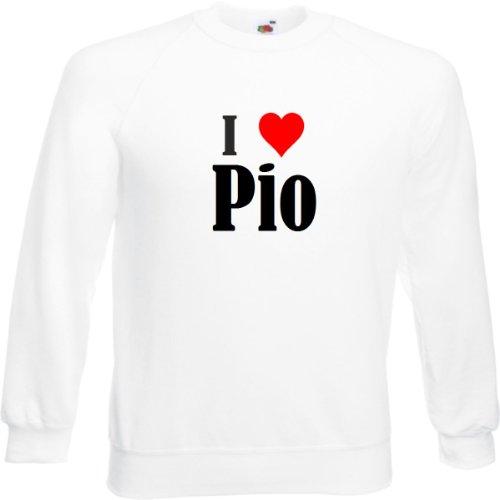 Reifen-Markt Sweatshirt I Love Pio Größe 2XL Farbe Weiss Druck Schwarz