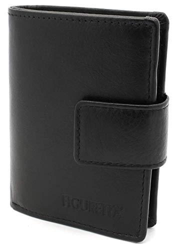 Figuretta Figuretta Leder Kreditkartenetui mit Banknoten- und Münzfach - Geldbörse Slim Wallet Portmonee - RFID Schutz - Schwarz