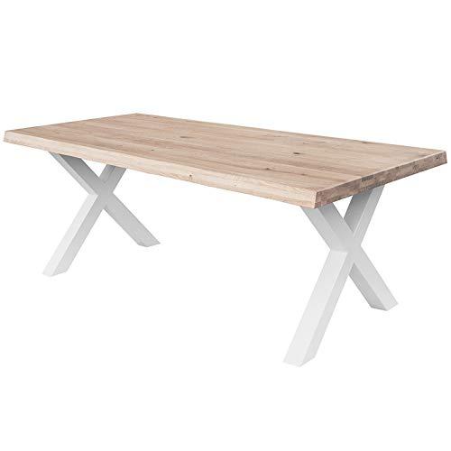 COMIFORT Mesa de Comedor - Mueble para Salon Oficina Despacho Robusto y Moderno de Roble Macizo Color Blanqueado con Lado Ondulado, Patas de Acero X-Forma Blancas (160x90 cm)