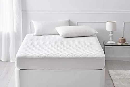 Pikolin Home - Protector de colchón acolchado de fibra hueca siliconada Ecolofil transpirable que aporta un extra de confort