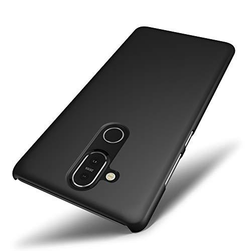 SLEO Custodia Nokia 8.1 / X7, Cover per Nokia 8.1 / X7 Thin Fit [Cover Sottile & Robusto] Rivestimento Soft-Feel, Ultra Leggero Protetto PC Duro Case - Nero