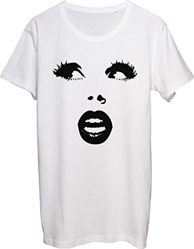 Pretty Woman Face with Nice Lips and Gorgeous Lashes T-Shirt Uomo Bnft bianco S