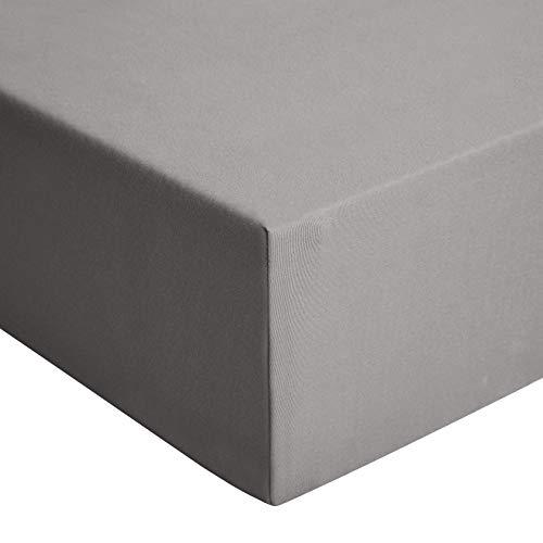 Amazon Basics - Spannbetttuch, Jersey, Dunkelgrau - 140 x 200 cm