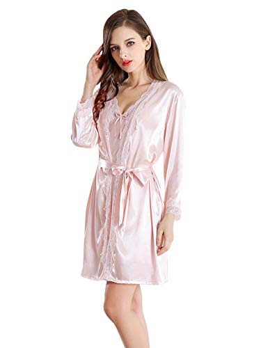 Minetom Damen Sexy Zweiteilige Pyjamas Seide Tüll Kleid Negligee Negligé Spitze BH Nachtkleid Reizwäsche Nachtwäsche mit Gürtel Bademantel Kimono Sets B Rosa DE 40