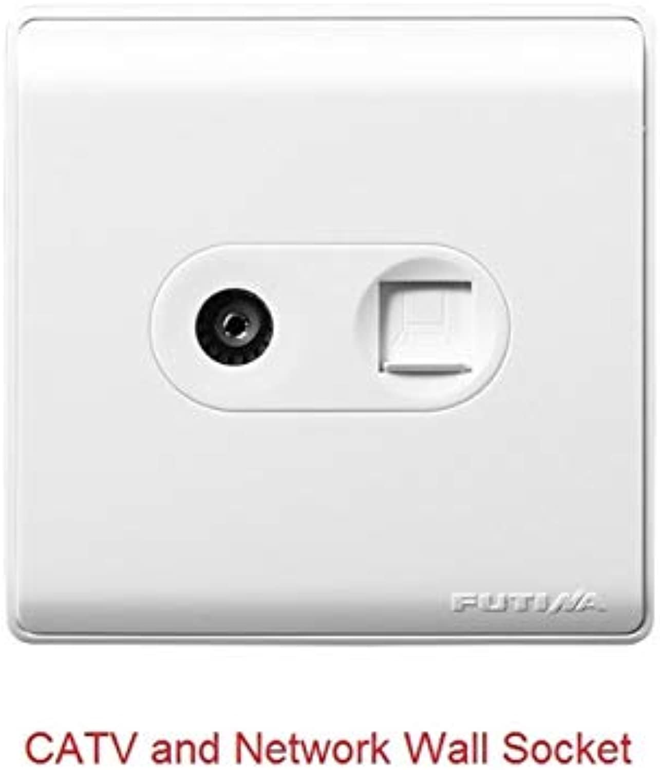High Quality Telephone Network CATV Wall Socket Retardant PC Material 86mm86mm  (color  TV and Network)