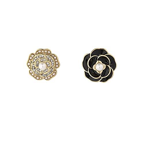 Pendientes de aguja de plata S925 Pendientes de camelia AB de estilo francés Joyería de oreja retro de temperamento de moda