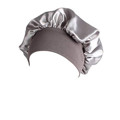 Ever Fairy Polyester Night Cap,Women Curly GirlSlap Headwear Gifts for Frizzy Hair Women Sleep Slouchy Bonnet Cap with Premium Width Elastic Band (Silver)