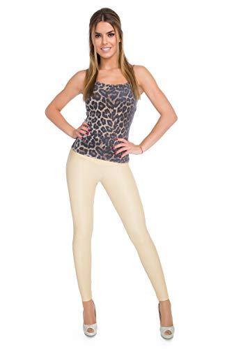 FUTURO FASHION - Knöchellange Leggings mit hohem Bund - sexy Latex-Lederimitat - matt & glänzender Wet-Look - Beige - 36