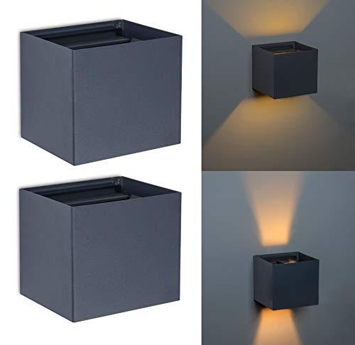 Trango 2er Pack 8015-02A IP44 Up & Down Wandstrahler *FLEX* in Anthrazit matt Eckig inkl. je 1x 3.5 Watt G9 LED Leuchtmittel mit einstellbar Abstrahlwinkel als innen & außen Wandleuchte Außenstrahler