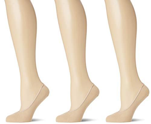 Pretty Polly Damen Cotton Footsie 2pp Füßlinge, 100, Beige (Nude Nude), Large (Herstellergröße: ML) (3er Pack)