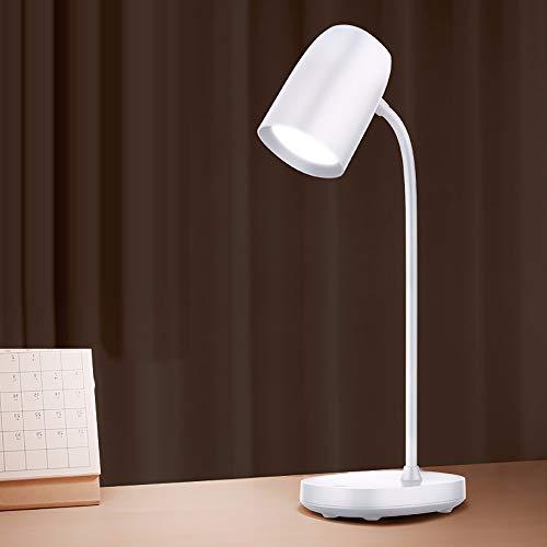 Yirunfa Lámpara de Escritorio LED Intensidad Regulable en 3 Colores 360° Flexo de Escritorio luz Lámpara de Mesa Control Táctil Oficina Carga USB para Leer,Estudiar