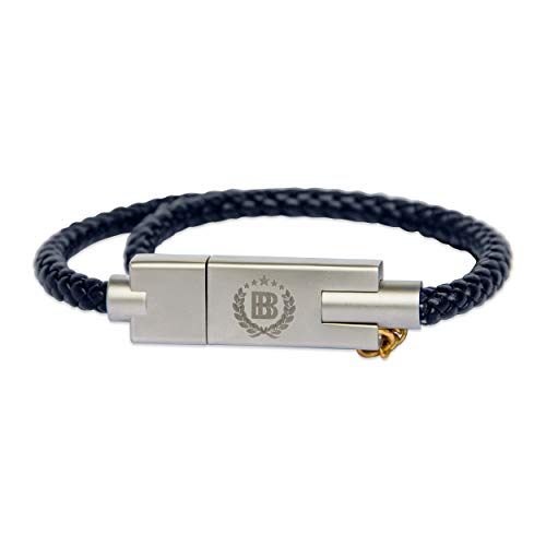 The BB Gold and Black Double Braided Wrist Cuff 2-in-1 USB Cable Bracelet Lightning Charger and Data Cable for Men and Women Compatible with All iOS Devices