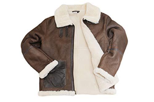 Ricardo B.H. Winter Sheepskin Pilot Jacket for Men in Brown (M)