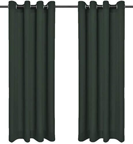 Rollmayer Sonnenblenden und Sichtschutz mit Ösen, blickdicht, dekorativ, Schlafzimmer, Kinderzimmer, Kollektion Vivid, 2 Stück, Polyester, #Vivid 26 grün Flasche, 135x240 cm (LxH)