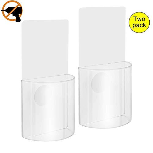 Woohot 2 Pack Set beschädigungsfreie Acryl Wandhalterung Organizer Aufbewahrungsbox für Handy Fernbedienung Halter
