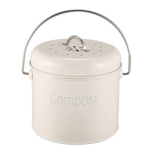NINGWANG Compost Bin 3L - Steel Kitchen Compost Bin - Kitchen Composter for Food Waste - Coal Filter