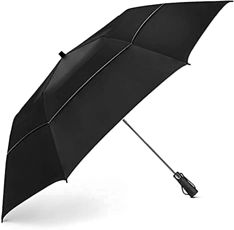 EEZ-Y Travel Umbrellas for Rain - Light-Weight, Strong, Compact with & Easy Auto Open/Close Button for Single Hand Use - Double Vented Canopy for Men & Women - UV Black