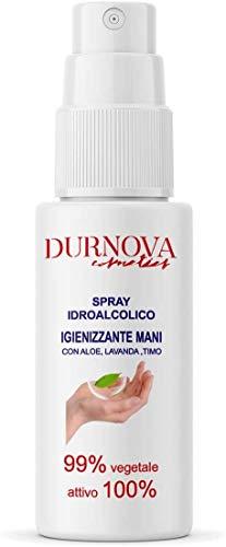 Durnova Cosmetics - Higienizante para manos hidroalcohólico, spray 100 ml, activo 100%, 99% vegetal con aloe, lavanda y tinte