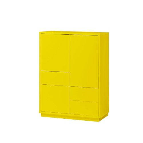 K-Möbel Highboard Anrichte Kommode Gelb 3 Türen 3 Schubladen Push-to-Open 110x80x38 cm