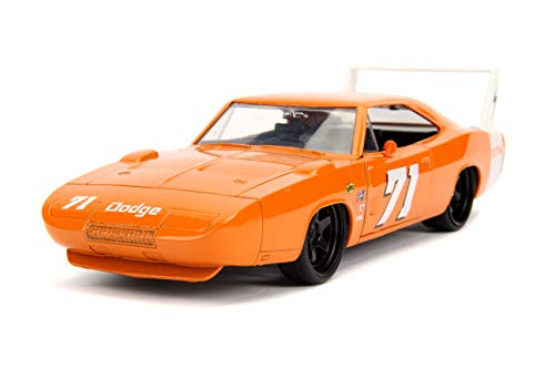 Jada Toys Big Time Muscle 1969 Dodge Charger Daytona, Orange 71, 1: 24 Scale Die-Cast Vehicle Collectible Car, 31453