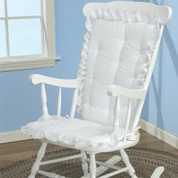 ABABY.COM Rocking Chair Cushion Pad Set - Machine Washable Seat and Seat Back Cushions, Seat Cover or Replacement Pads for Rocker or Glider, White Eyelet