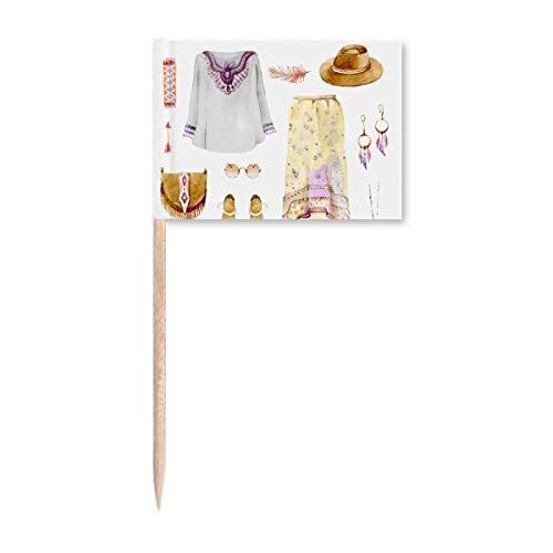 Bohe Mia Wind Fashion Handbemalte Zahnstocher Flaggen Marker Topper Party Dekoration