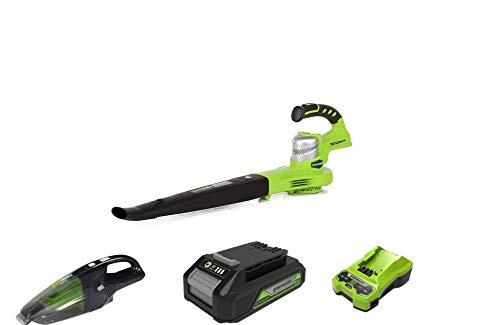 Greenworks 24V Akku-Laubbläser ohne Akku und Ladegerät - 2400007+Akku-Handstaubsauger G24HV ohne Akku und Ladegerät+Akku G24B2 2.Generation+Akku-Ladegerät G24C