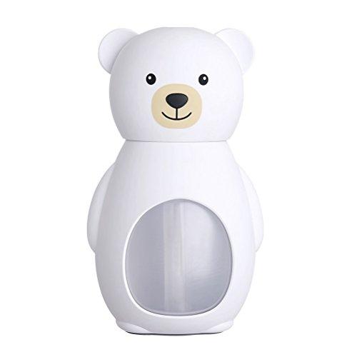 Vosarea Aroma Diffuser Diffusor Luftbefeuchter Raumbefeuchter USB Mini Ultraschall Elektrisch Leise Luft Aromatherapie Bär Form für Babyzimmer Kinderzimmer Schlafzimmer Auto (Weiß)