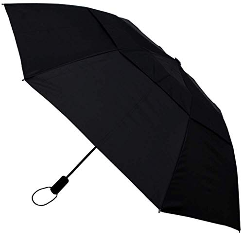 COLLAR AND CUFFS LONDON - Notre Parapluie Pliant le Plus Solide - RARE 2 PLIS TRÈS ROBUSTE 80 km/h Parapluie - Toile aérée, Vented Double Couche- Cadre Renforcé Avec Fibre de Verre - Automatique Noir