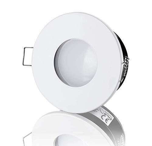 lambado® LED Spots Flach für Badezimmer IP65 in Weiss - Moderne Deckenstrahler/Einbaustrahler für Außen inkl. 230V 5W Strahler warmweiß dimmbar - Hell & Sparsam