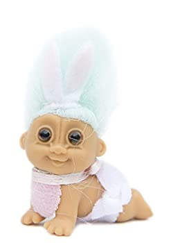 Russ Berrie My Lucky Mini 2.5  Crawling Easter Baby Troll Doll - Light Green Hair