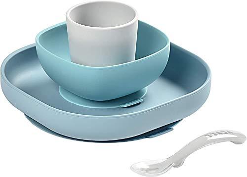 BÉABA, Set Vaisselle Silicone Repas Bébé, Avec Ventouse, Anti-dérapant, 4 Pièces, Assiette + Bol+ Verre + Cuillère, Silicone Saine et Durable, Compatible lave-vaisselle, Micro-onde, Jungle