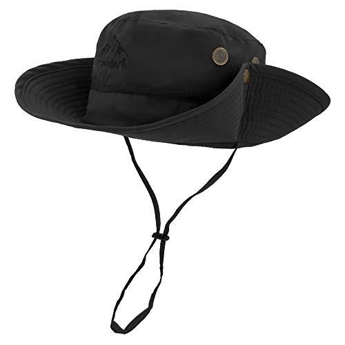 LETHMIK Outdoor Waterproof Boonie Hat Wide Brim Breathable Hunting Fishing Safari Sun Hat Black