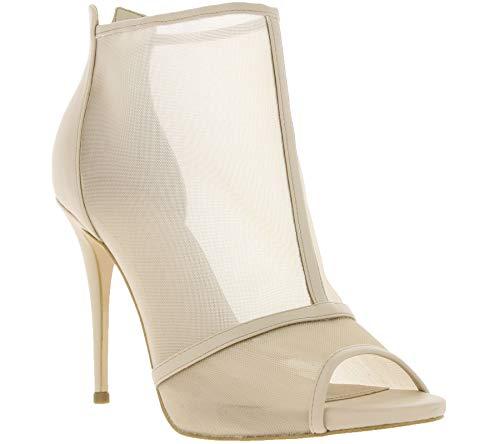 Guess Schuhe Sandalette Trendige Damen Pumps in Netzoptik Sandale Abend-Schuhe Beige, Größe:41
