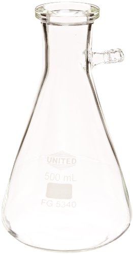 United Scientific FG5340-500 Borosilicate Glass Heavy Wall Filtering Flask, Bolt Neck with Tubulation, 500ml Capacity