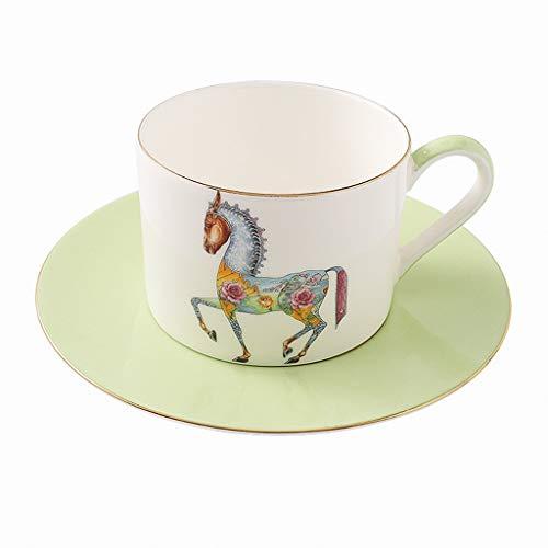 YIFEI2013-SHOP Tazas Copa Copa European Ceramic Juego de café, café Especial, Latte, Mocha Coffee Cup, Creativa Personalizada Inicio Taza y platillo de 2 Colores Tazas de Café (Color : Green)