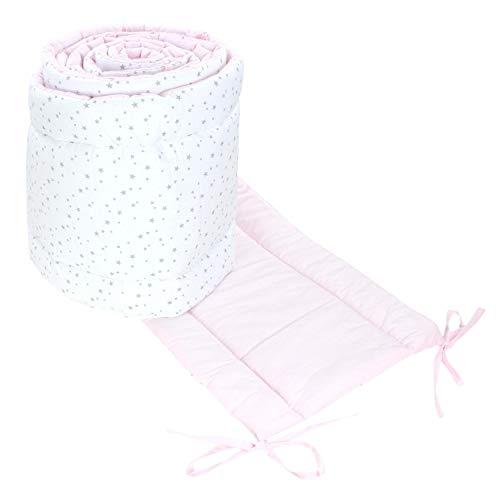 TupTam Babybett Bettumrandung Lang 2-seitig Gemustert Nest, Farbe: Sterne Weiß/Rosa, Größe: 420x30cm (für Babybett 140x70)