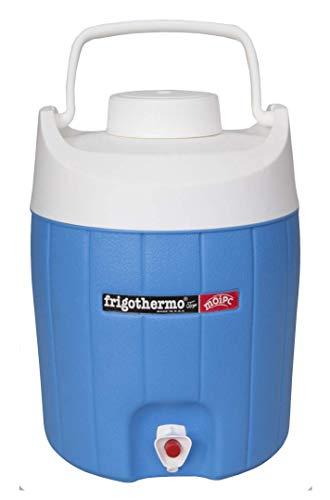 frigothermo Kühlbox mit Zapfhahn Wasserspender 12 Liter klein rund blau weiß passiv Kunststoff mit Becher Tragegriff Schraubdeckel bis 12 Stunden Kühlung Thermobehälter Getränkespender Wasserbehälter