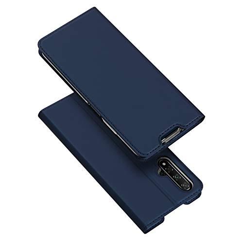 DUX DUCIS Hülle für Huawei Nova 5T / Honor 20, Leder Klappbar Handyhülle Schutzhülle Tasche Hülle mit [Kartenfach] [Standfunktion] [Magnetisch] (Blau)
