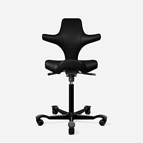 HAG Capisco Adjustable Standing Desk Chair - Black Frame - Leather Black Seat